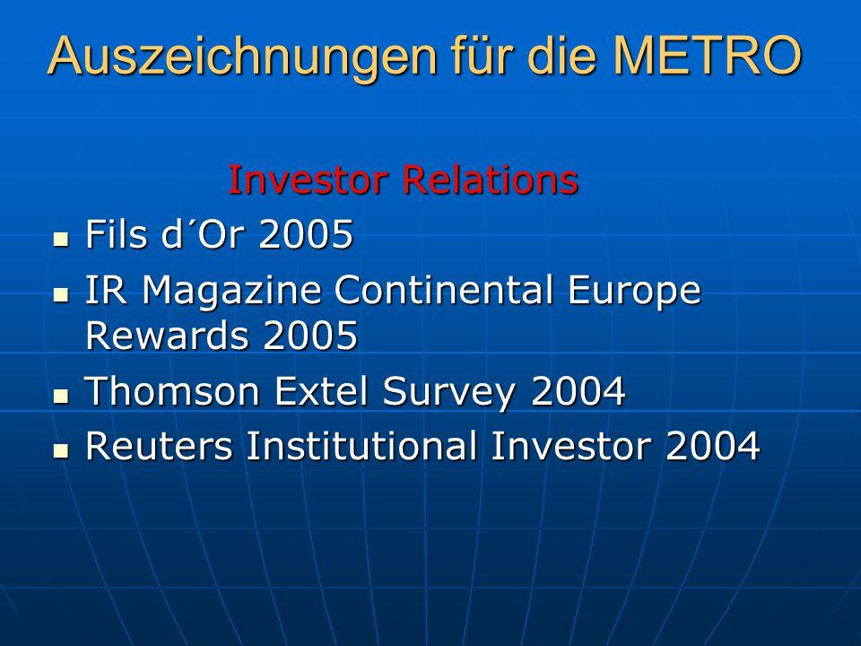 Auszeichnungen für die METRO Investor Relations Investor Relations Fils d´Or 2005 Fils d´Or 2005 IR Magazine Continental Europe Rewards 2005 IR Magazi