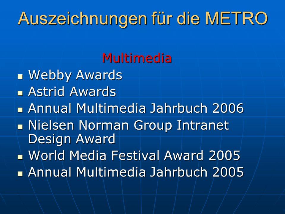 Auszeichnungen für die METRO Multimedia Multimedia Webby Awards Webby Awards Astrid Awards Astrid Awards Annual Multimedia Jahrbuch 2006 Annual Multim