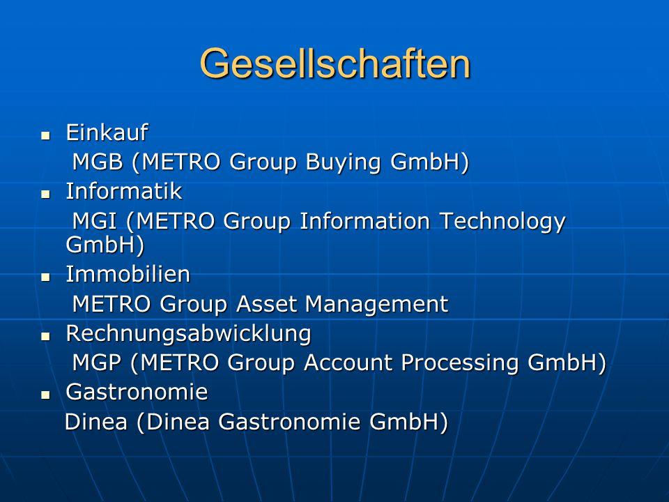 Gesellschaften Einkauf Einkauf MGB (METRO Group Buying GmbH) MGB (METRO Group Buying GmbH) Informatik Informatik MGI (METRO Group Information Technolo