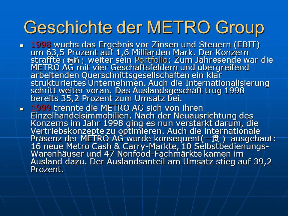 Geschichte der METRO Group 1998 wuchs das Ergebnis vor Zinsen und Steuern (EBIT) um 63,5 Prozent auf 1,6 Milliarden Mark. Der Konzern straffte (精简) we