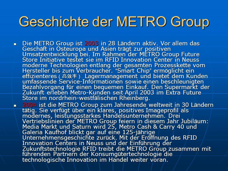 Geschichte der METRO Group Die METRO Group ist 2003 in 28 L ä ndern aktiv. Vor allem das Gesch ä ft in Osteuropa und Asien tr ä gt zur positiven Umsat