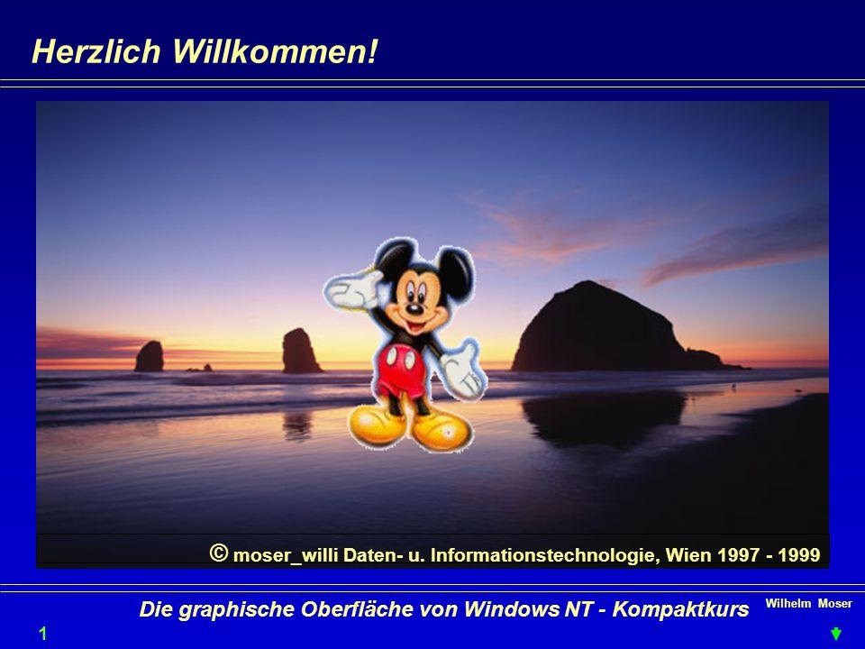Wilhelm Moser 1 Die graphische Oberfläche von Windows NT - Kompaktkurs Herzlich Willkommen.