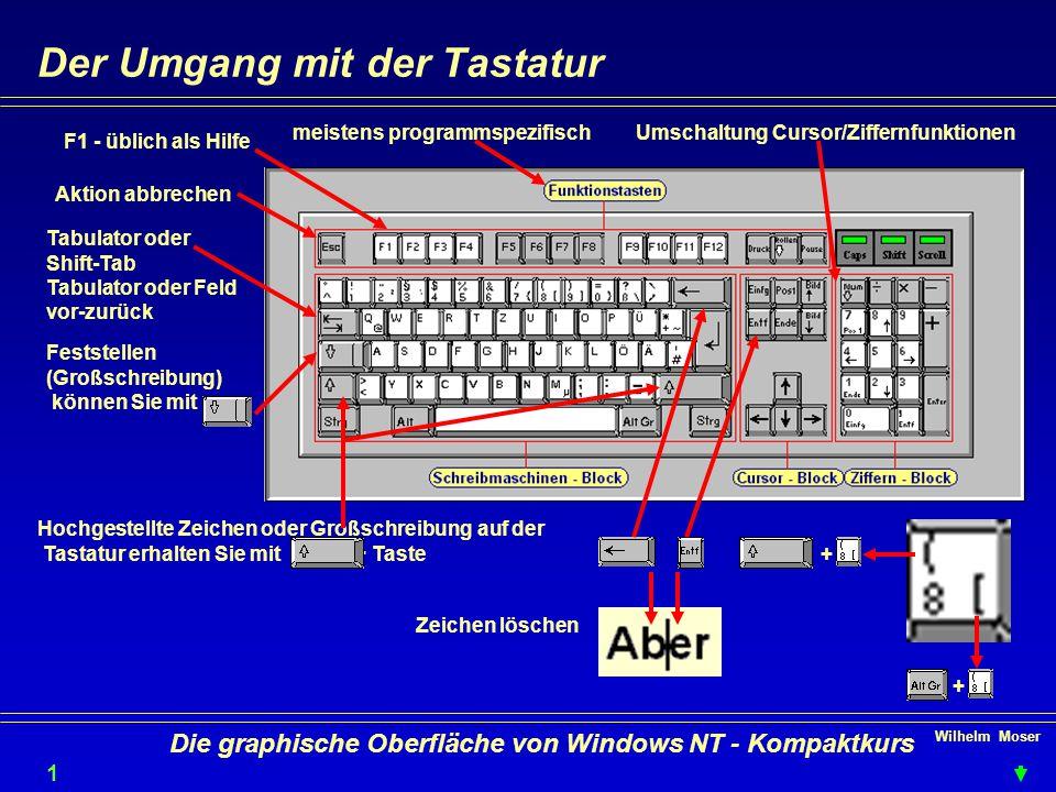 Wilhelm Moser 1010 Die graphische Oberfläche von Windows NT - Kompaktkurs Der Umgang mit der Tastatur Hochgestellte Zeichen oder Großschreibung auf der Tastatur erhalten Sie mit + Taste Feststellen (Großschreibung) können Sie mit Aktion abbrechen Tabulator oder Shift-Tab Tabulator oder Feld vor-zurück + + Zeichen löschen F1 - üblich als Hilfe Umschaltung Cursor/Ziffernfunktionenmeistens programmspezifisch