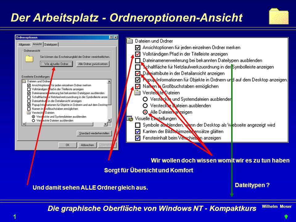 Wilhelm Moser 1818 Die graphische Oberfläche von Windows NT - Kompaktkurs Der Arbeitsplatz - Ordneroptionen-Ansicht Sorgt für Übersicht und Komfort Wir wollen doch wissen womit wir es zu tun haben Und damit sehen ALLE Ordner gleich aus.