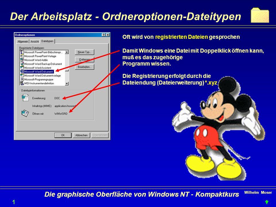 Wilhelm Moser 1919 Die graphische Oberfläche von Windows NT - Kompaktkurs Der Arbeitsplatz - Ordneroptionen-Dateitypen Oft wird von registrierten Dateien gesprochen Damit Windows eine Datei mit Doppelklick öffnen kann, muß es das zugehörige Programm wissen.