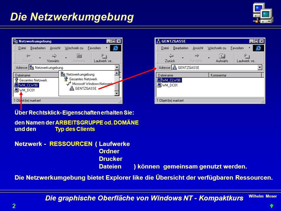 Wilhelm Moser 2121 Die graphische Oberfläche von Windows NT - Kompaktkurs Die Netzwerkumgebung Über Rechtsklick- Eigenschaften erhalten Sie: den Namen der ARBEITSGRUPPE od.