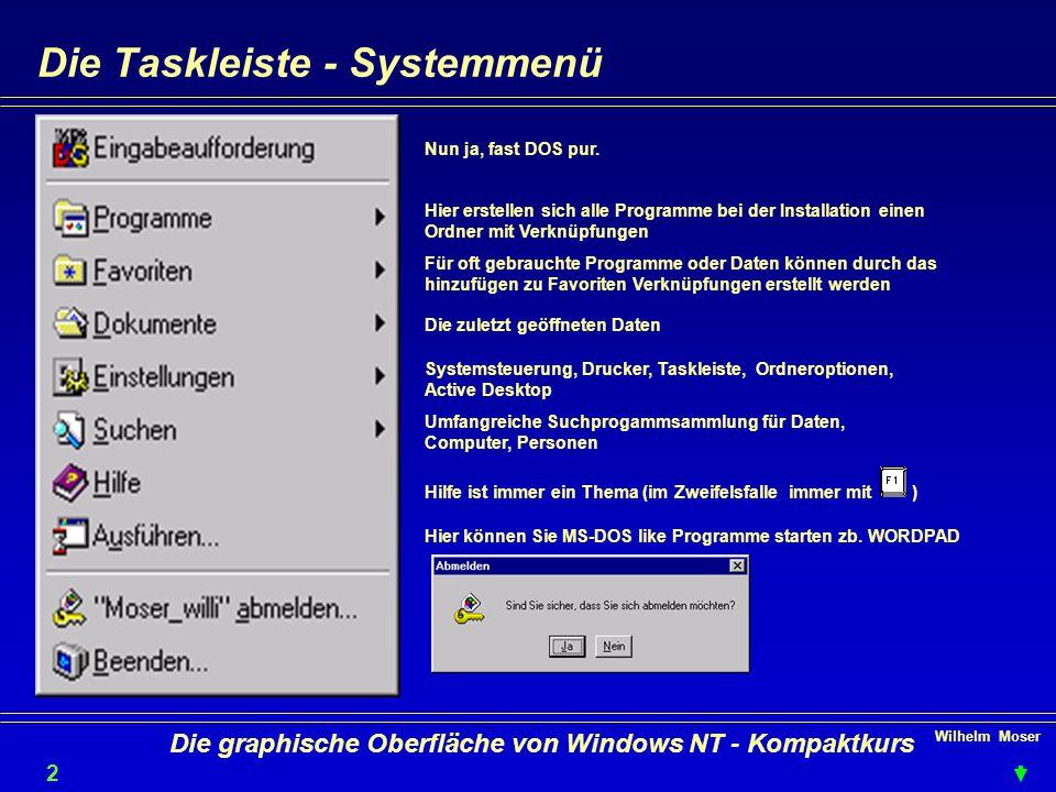 Wilhelm Moser 2525 Die graphische Oberfläche von Windows NT - Kompaktkurs Die Taskleiste - Systemmenü Nun ja, fast DOS pur.