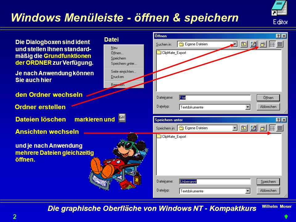 Wilhelm Moser 2929 Die graphische Oberfläche von Windows NT - Kompaktkurs Windows Menüleiste - öffnen & speichern Die Dialogboxen sind ident und stellen Ihnen standard- mäßig die Grundfunktionen der ORDNER zur Verfügung.