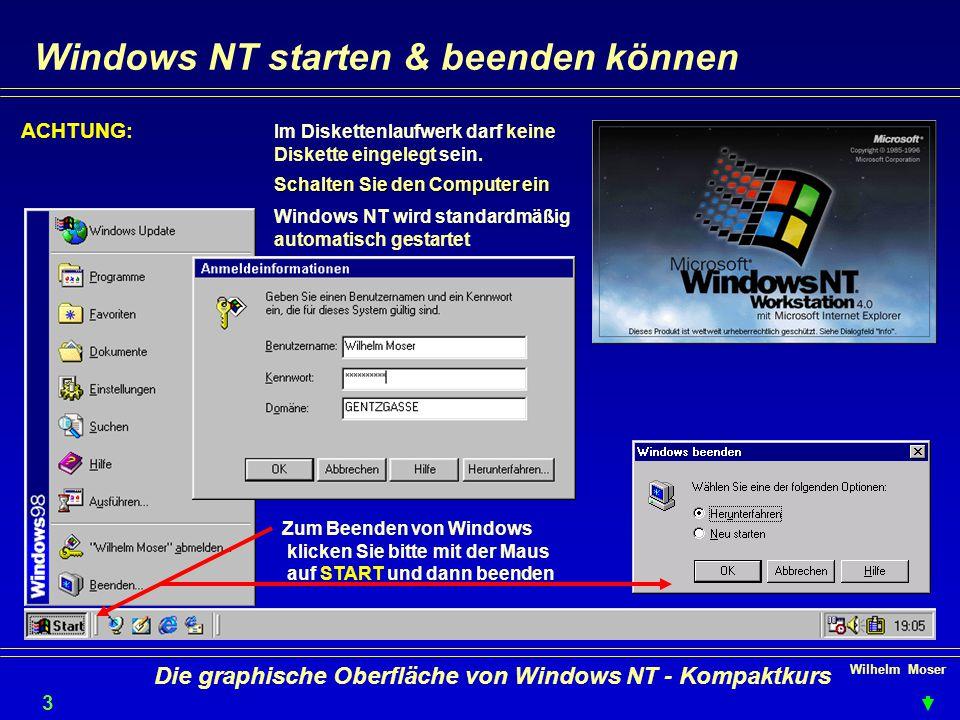 Wilhelm Moser 3 Die graphische Oberfläche von Windows NT - Kompaktkurs Windows NT starten & beenden können ACHTUNG: Im Diskettenlaufwerk darf keine Diskette eingelegt sein.