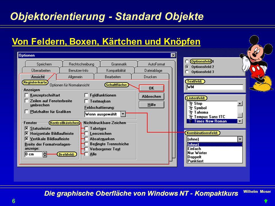 Wilhelm Moser 6 Die graphische Oberfläche von Windows NT - Kompaktkurs Objektorientierung - Standard Objekte Von Feldern, Boxen, Kärtchen und Knöpfen
