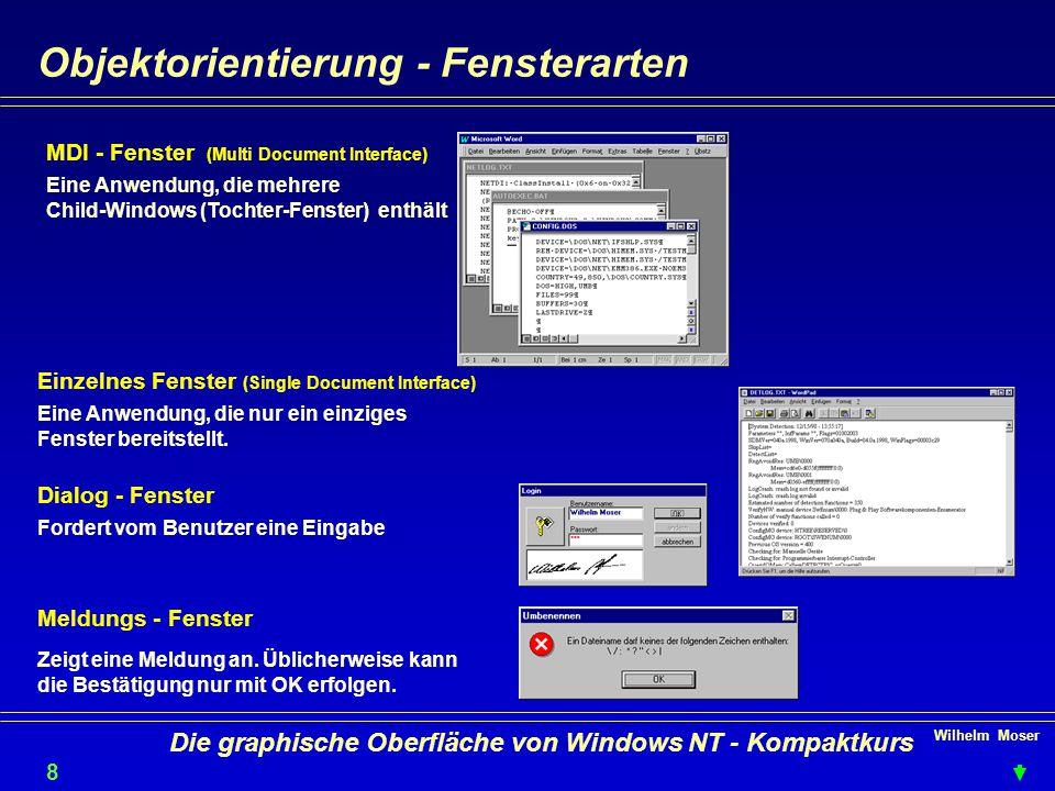 Wilhelm Moser 8 Die graphische Oberfläche von Windows NT - Kompaktkurs Objektorientierung - Fensterarten MDI - Fenster (Multi Document Interface) Einzelnes Fenster (Single Document Interface) Dialog - Fenster Meldungs - Fenster Eine Anwendung, die mehrere Child-Windows (Tochter-Fenster) enthält Eine Anwendung, die nur ein einziges Fenster bereitstellt.