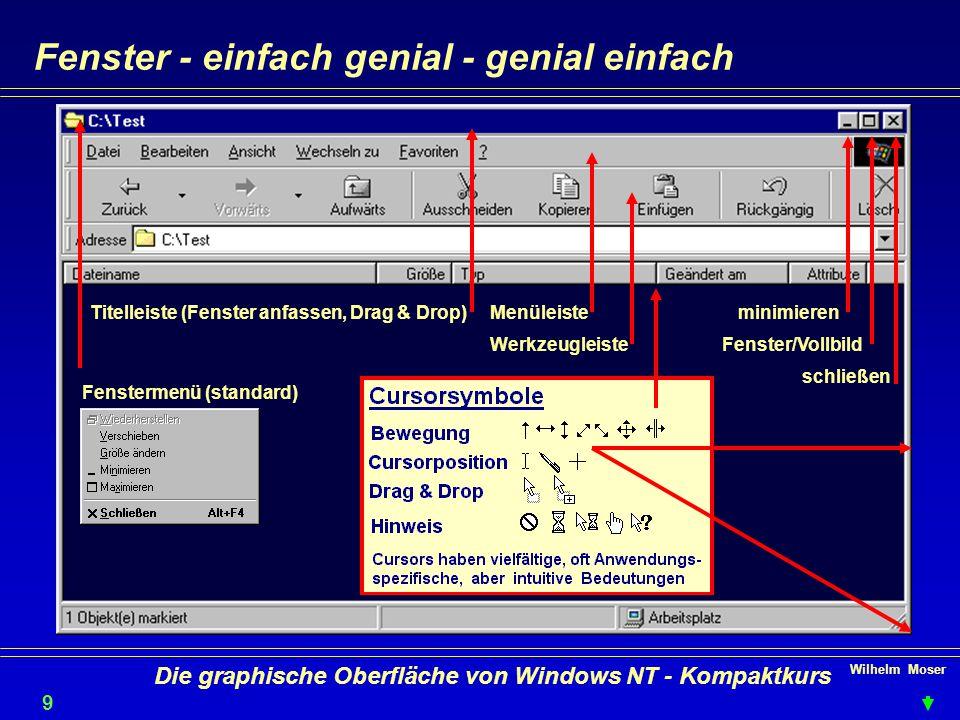 Wilhelm Moser 9 Die graphische Oberfläche von Windows NT - Kompaktkurs Fenster - einfach genial - genial einfach minimieren Fenster/Vollbild schließen Menüleiste Werkzeugleiste Titelleiste (Fenster anfassen, Drag & Drop) Fenstermenü (standard)