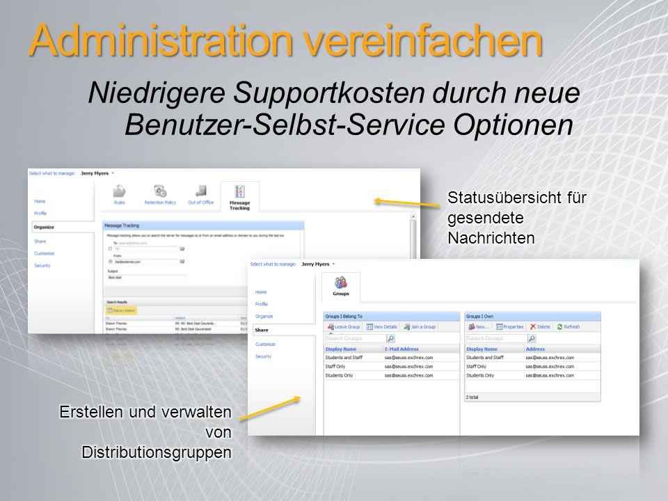 Administration vereinfachen Niedrigere Supportkosten durch neue Benutzer-Selbst-Service Optionen