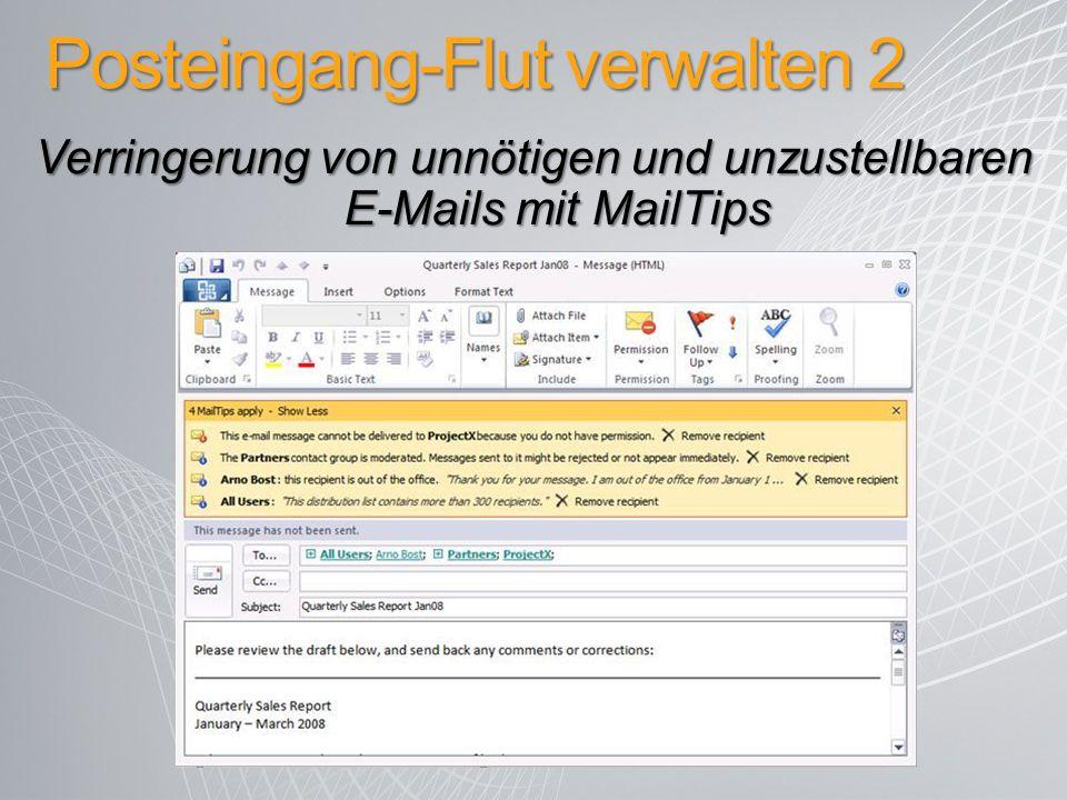 Posteingang-Flut verwalten 2 Verringerung von unnötigen und unzustellbaren E-Mails mit MailTips