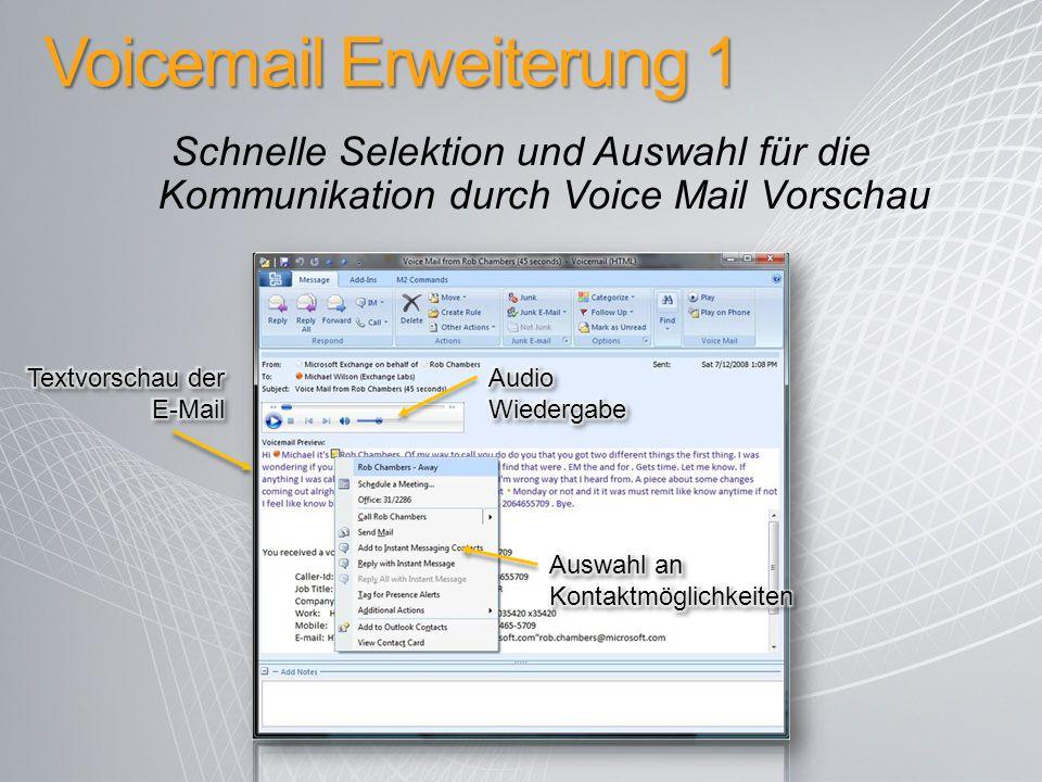 Voicemail Erweiterung 1 Schnelle Selektion und Auswahl für die Kommunikation durch Voice Mail Vorschau