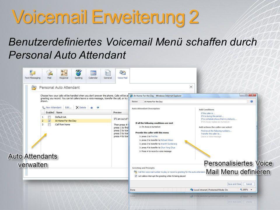 Voicemail Erweiterung 2 Benutzerdefiniertes Voicemail Menü schaffen durch Personal Auto Attendant