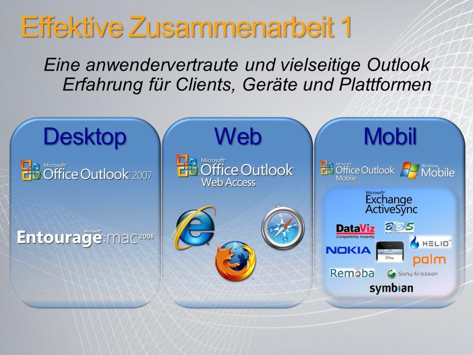Effektive Zusammenarbeit 1 Eine anwendervertraute und vielseitige Outlook Erfahrung für Clients, Geräte und Plattformen DesktopWebMobil