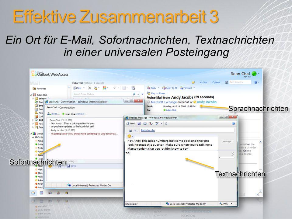 Effektive Zusammenarbeit 3 Ein Ort für E-Mail, Sofortnachrichten, Textnachrichten in einer universalen Posteingang