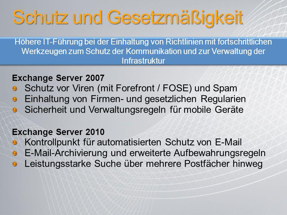 Exchange Server 2007 Schutz vor Viren (mit Forefront / FOSE) und Spam Einhaltung von Firmen- und gesetzlichen Regularien Sicherheit und Verwaltungsreg
