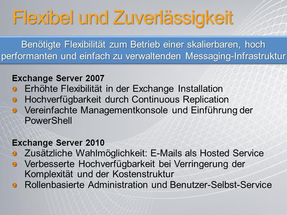 Flexibel und Zuverlässigkeit Exchange Server 2007 Erhöhte Flexibilität in der Exchange Installation Hochverfügbarkeit durch Continuous Replication Ver