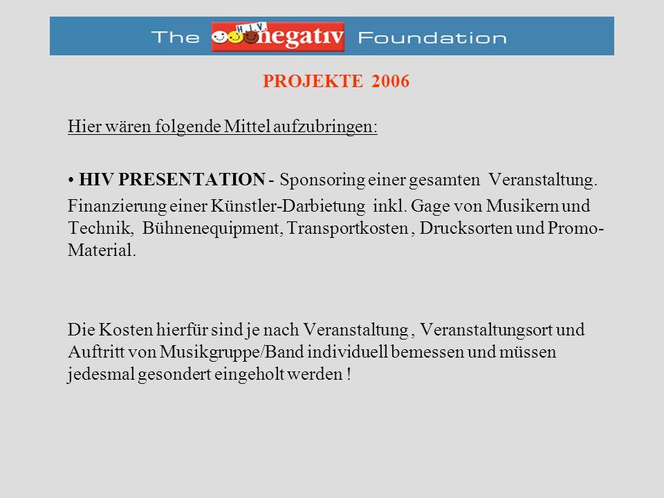 PROJEKTE 2006 Hier wären folgende Mittel aufzubringen: HIV PRESENTATION - Sponsoring einer gesamten Veranstaltung.