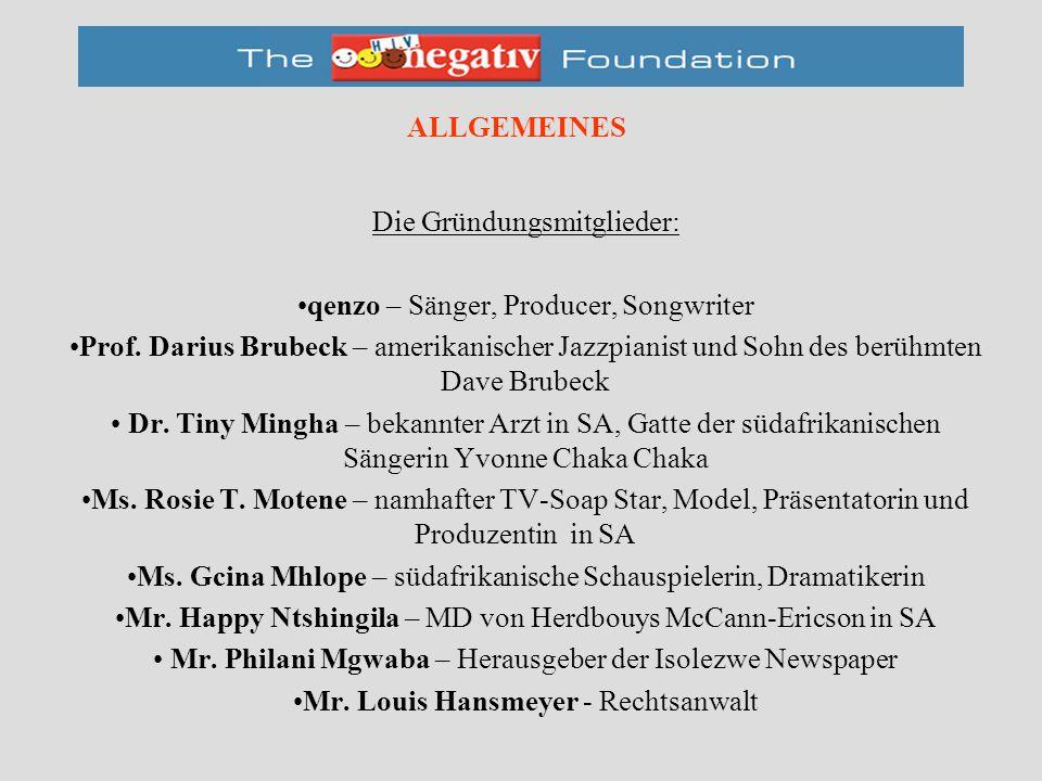 ALLGEMEINES Die Gründungsmitglieder: qenzo – Sänger, Producer, Songwriter Prof.