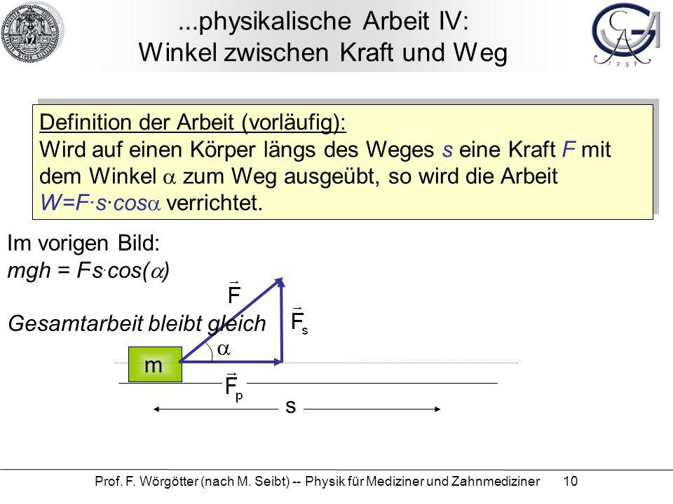 Prof. F. Wörgötter (nach M. Seibt) -- Physik für Mediziner und Zahnmediziner 10...physikalische Arbeit IV: Winkel zwischen Kraft und Weg Definition de