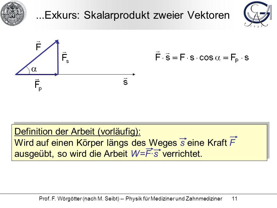 Prof. F. Wörgötter (nach M. Seibt) -- Physik für Mediziner und Zahnmediziner 11...Exkurs: Skalarprodukt zweier Vektoren  Definition der Arbeit (vorlä