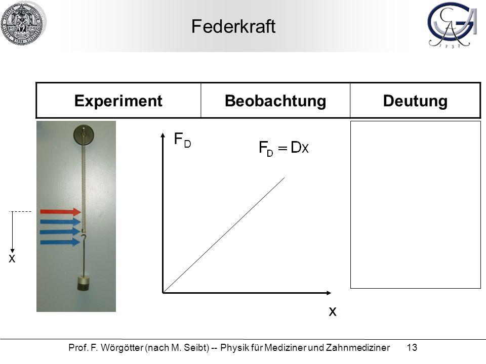 Prof. F. Wörgötter (nach M. Seibt) -- Physik für Mediziner und Zahnmediziner 13 Federkraft ExperimentBeobachtungDeutung x FDFD x