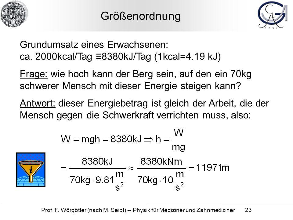 Prof. F. Wörgötter (nach M. Seibt) -- Physik für Mediziner und Zahnmediziner 23 Größenordnung Grundumsatz eines Erwachsenen: ca. 2000kcal/Tag ≡8380kJ/