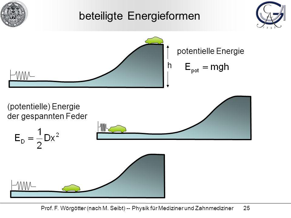 Prof. F. Wörgötter (nach M. Seibt) -- Physik für Mediziner und Zahnmediziner 25 beteiligte Energieformen potentielle Energie (potentielle) Energie der