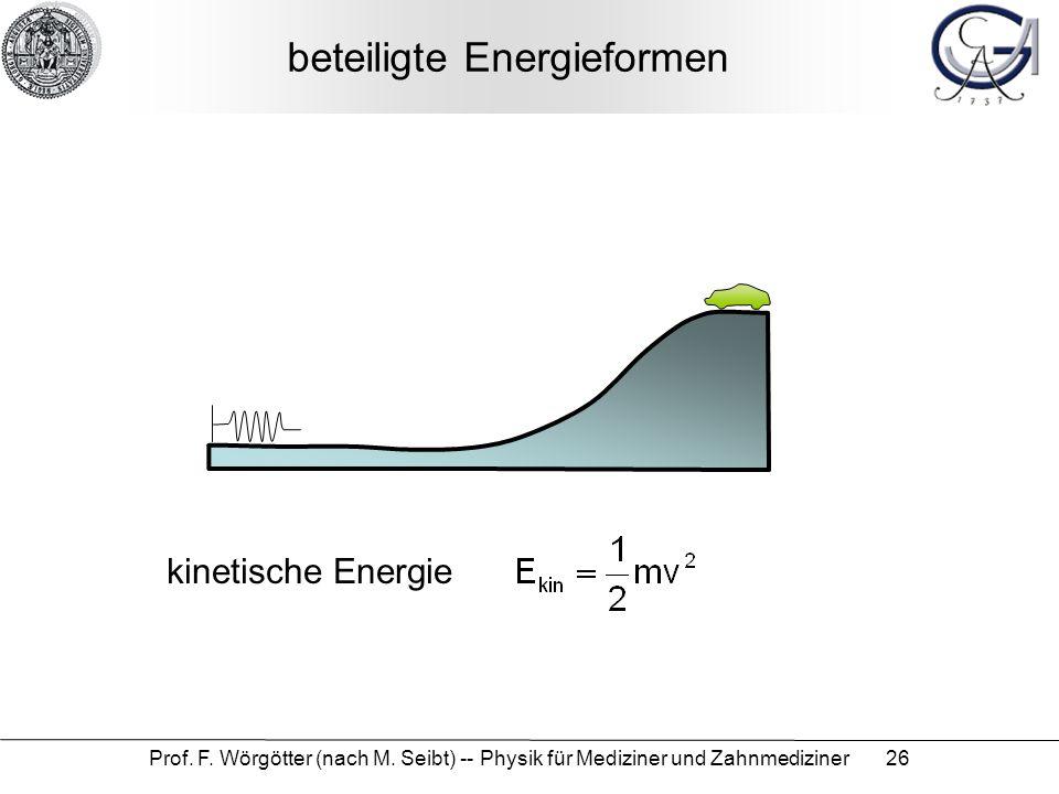 Prof. F. Wörgötter (nach M. Seibt) -- Physik für Mediziner und Zahnmediziner 26 beteiligte Energieformen kinetische Energie