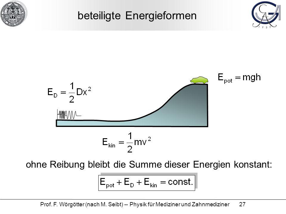Prof. F. Wörgötter (nach M. Seibt) -- Physik für Mediziner und Zahnmediziner 27 beteiligte Energieformen ohne Reibung bleibt die Summe dieser Energien