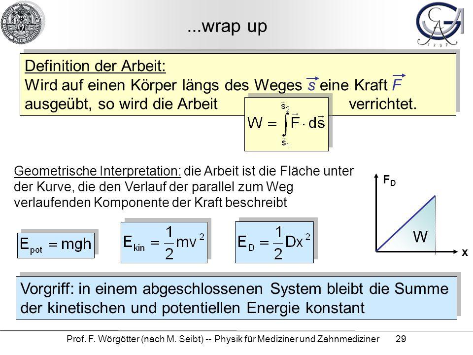 Prof. F. Wörgötter (nach M. Seibt) -- Physik für Mediziner und Zahnmediziner 29...wrap up Definition der Arbeit: Wird auf einen Körper längs des Weges
