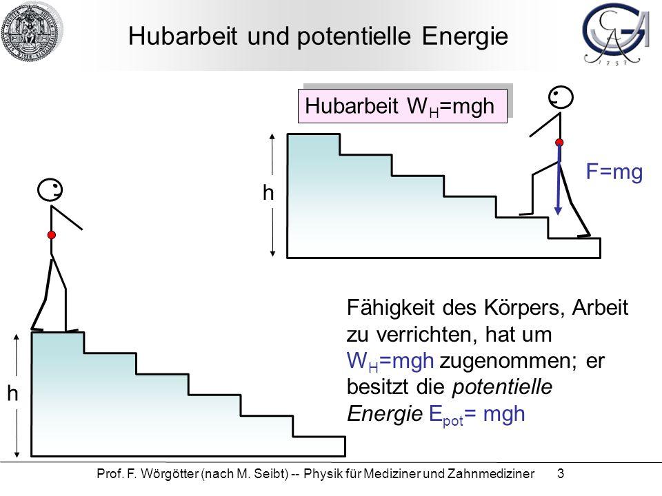 Prof. F. Wörgötter (nach M. Seibt) -- Physik für Mediziner und Zahnmediziner 3 Hubarbeit und potentielle Energie Hubarbeit W H =mgh h F=mg Fähigkeit d
