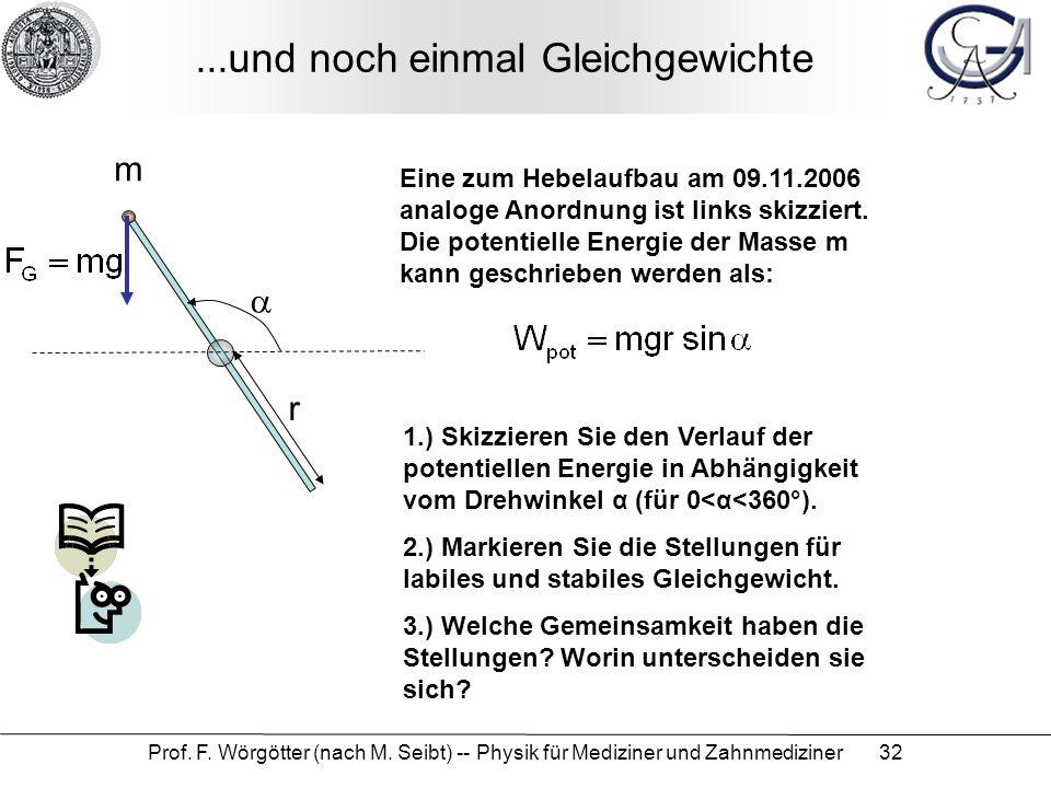 Prof. F. Wörgötter (nach M. Seibt) -- Physik für Mediziner und Zahnmediziner 32...und noch einmal Gleichgewichte m  r Eine zum Hebelaufbau am 09.11.2
