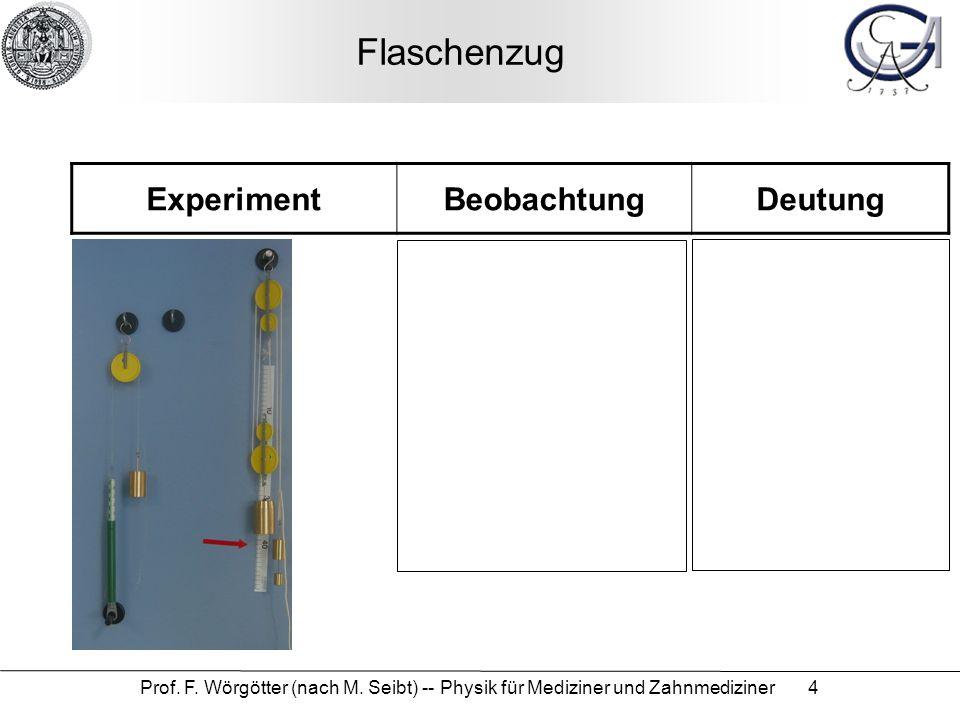 Prof. F. Wörgötter (nach M. Seibt) -- Physik für Mediziner und Zahnmediziner 4 Flaschenzug ExperimentBeobachtungDeutung