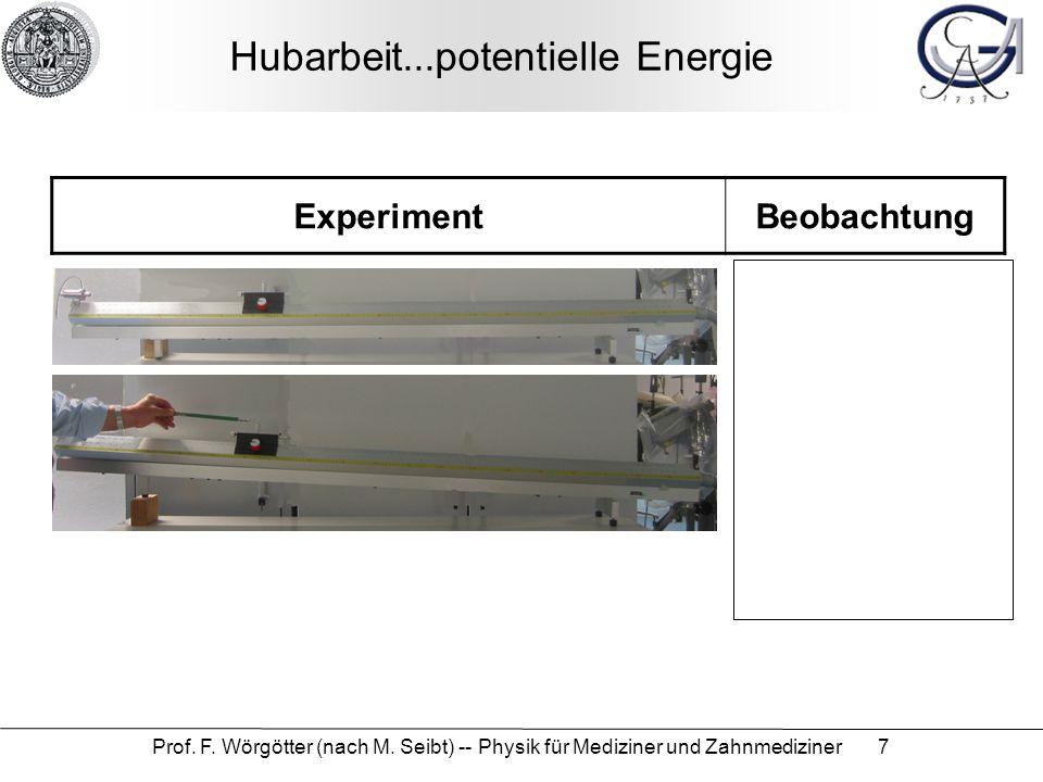 Prof. F. Wörgötter (nach M. Seibt) -- Physik für Mediziner und Zahnmediziner 7 Hubarbeit...potentielle Energie ExperimentBeobachtung