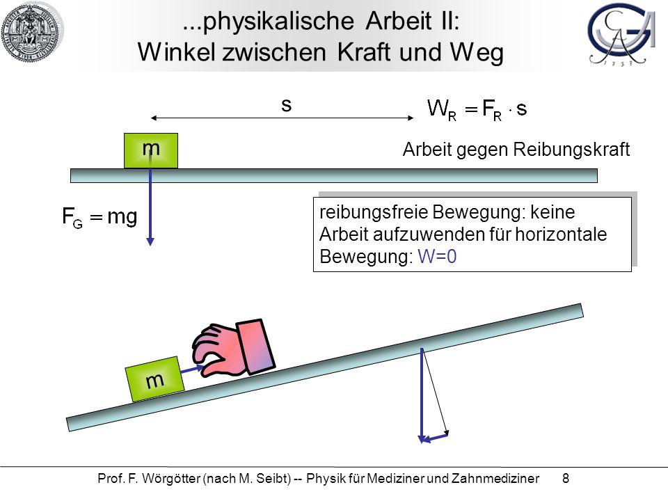 Prof. F. Wörgötter (nach M. Seibt) -- Physik für Mediziner und Zahnmediziner 8...physikalische Arbeit II: Winkel zwischen Kraft und Weg m s Arbeit geg