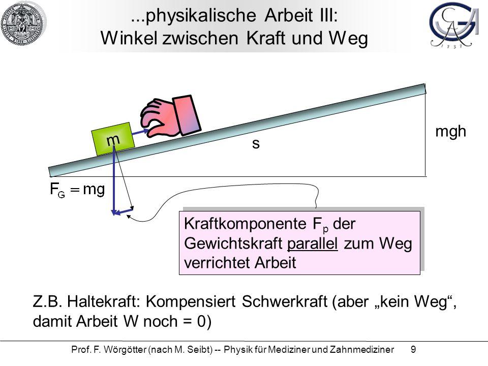 Prof. F. Wörgötter (nach M. Seibt) -- Physik für Mediziner und Zahnmediziner 9...physikalische Arbeit III: Winkel zwischen Kraft und Weg m Kraftkompon