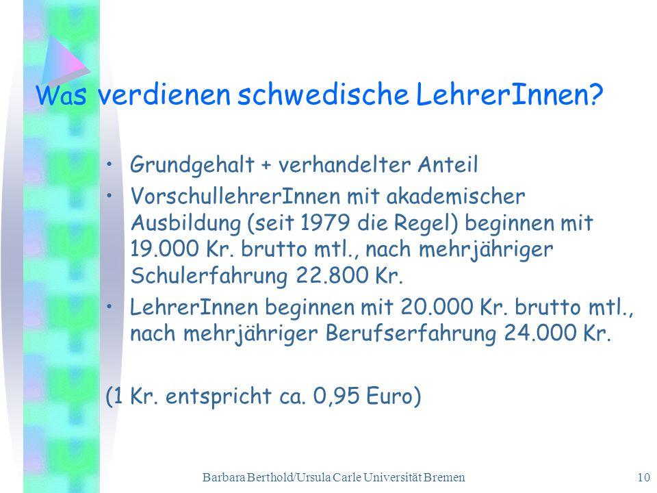 Barbara Berthold/Ursula Carle Universität Bremen 10 Wa s verdienen schwedische LehrerInnen.
