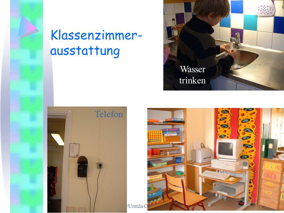 Barbara Berthold/Ursula Carle Universität Bremen 17 Klassenzimmer- ausstattung Telefon Wasser trinken