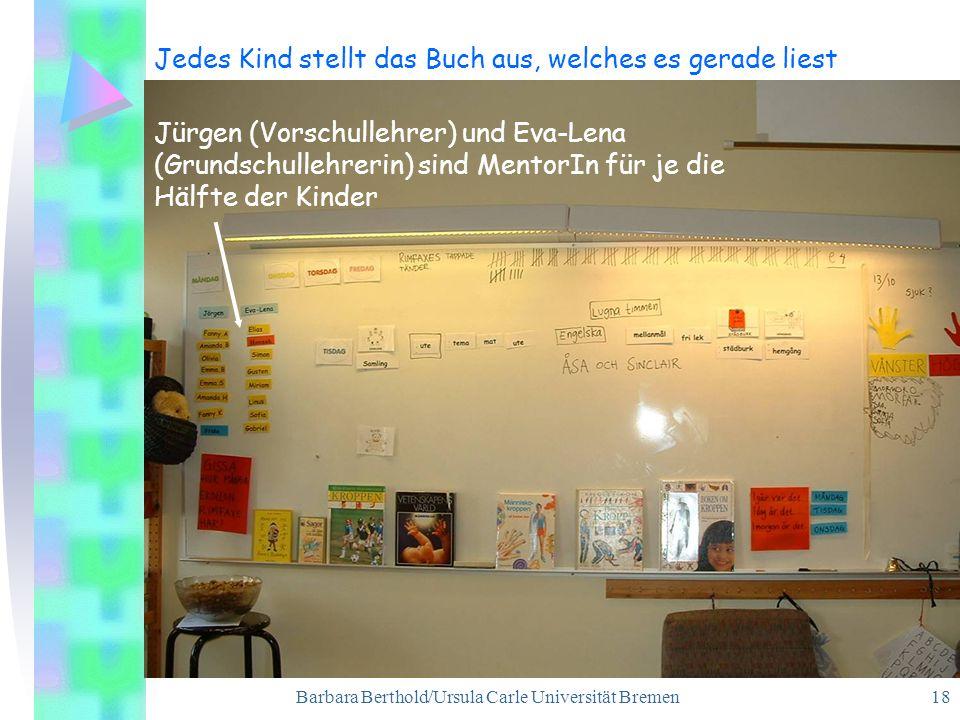 Barbara Berthold/Ursula Carle Universität Bremen 18 Jedes Kind stellt das Buch aus, welches es gerade liest Jürgen (Vorschullehrer) und Eva-Lena (Grundschullehrerin) sind MentorIn für je die Hälfte der Kinder