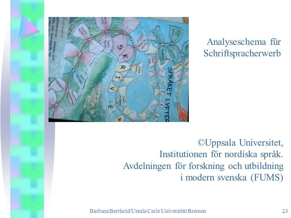 Barbara Berthold/Ursula Carle Universität Bremen 23 ©Uppsala Universitet, Institutionen för nordiska språk.
