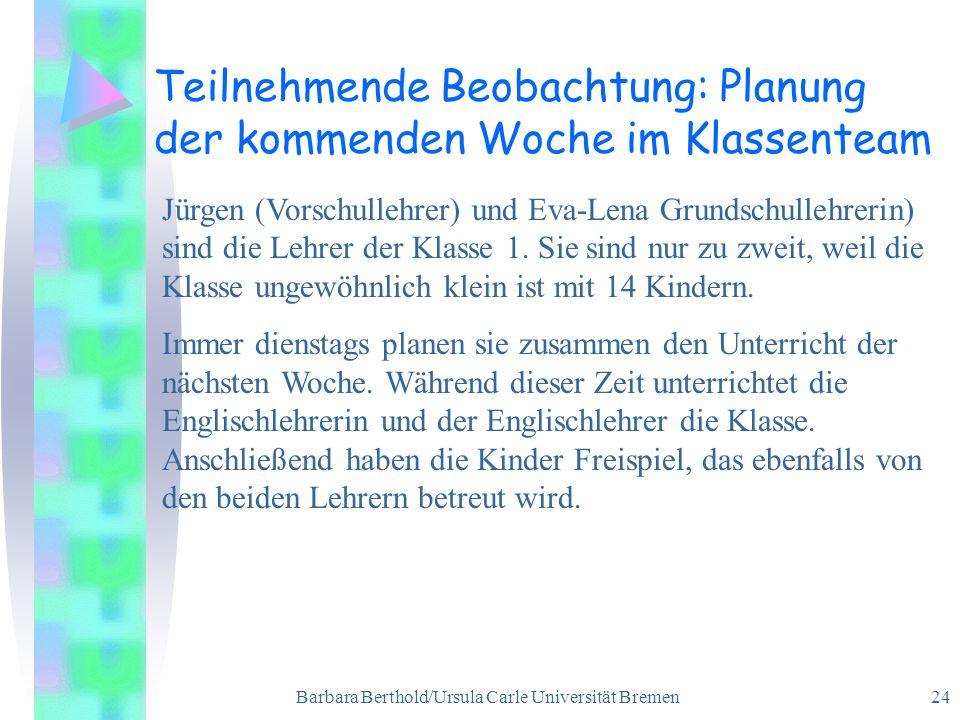 Barbara Berthold/Ursula Carle Universität Bremen 24 Teilnehmende Beobachtung: Planung der kommenden Woche im Klassenteam Jürgen (Vorschullehrer) und Eva-Lena Grundschullehrerin) sind die Lehrer der Klasse 1.