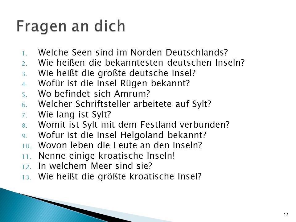 1. Welche Seen sind im Norden Deutschlands? 2. Wie heißen die bekanntesten deutschen Inseln? 3. Wie heißt die größte deutsche Insel? 4. Wofür ist die