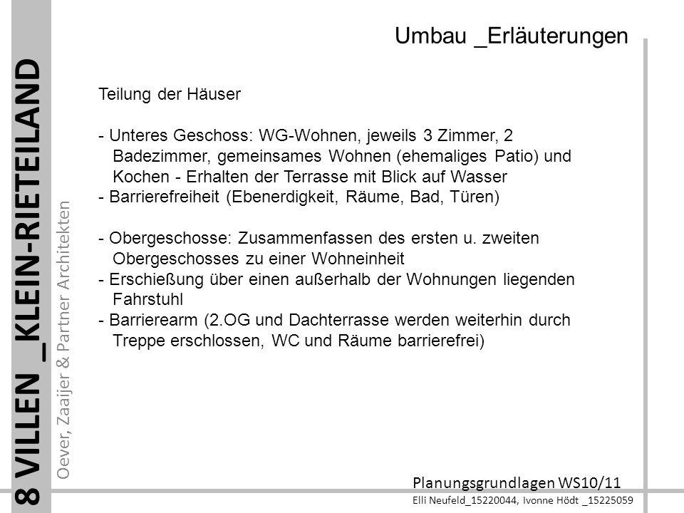 Oever, Zaaijer & Partner Architekten Planungsgrundlagen WS10/11 Elli Neufeld_15220044, Ivonne Hödt _15225059 8 VILLEN _KLEIN-RIETEILAND Teilung der Hä