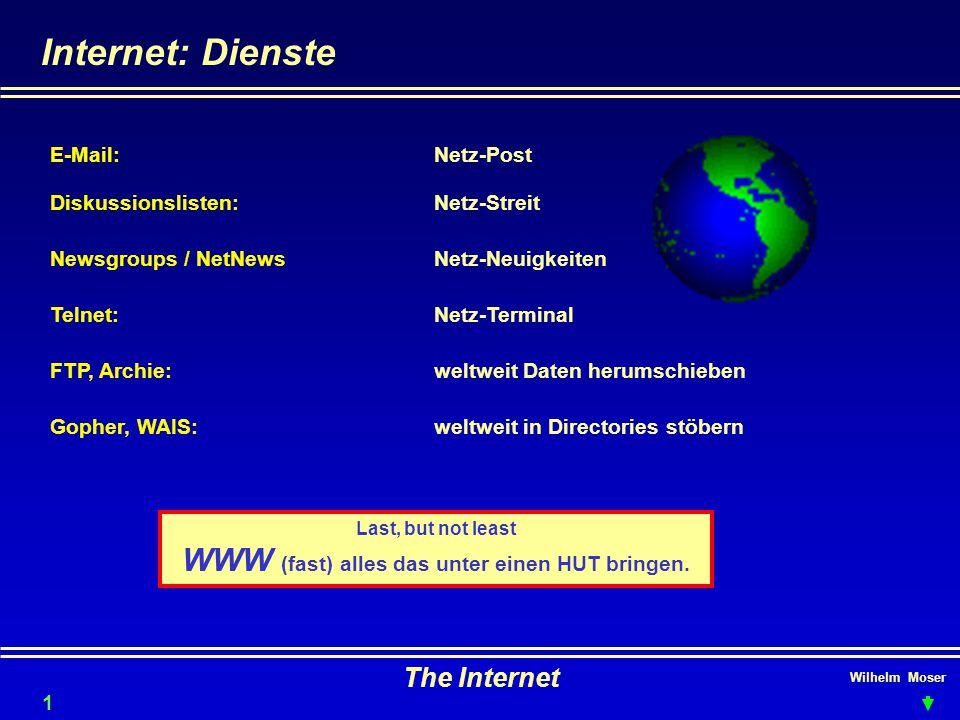 Wilhelm Moser The Internet Internet: Dienste 10 E-Mail:Netz-Post Diskussionslisten:Netz-Streit Newsgroups / NetNewsNetz-Neuigkeiten Telnet:Netz-Termin