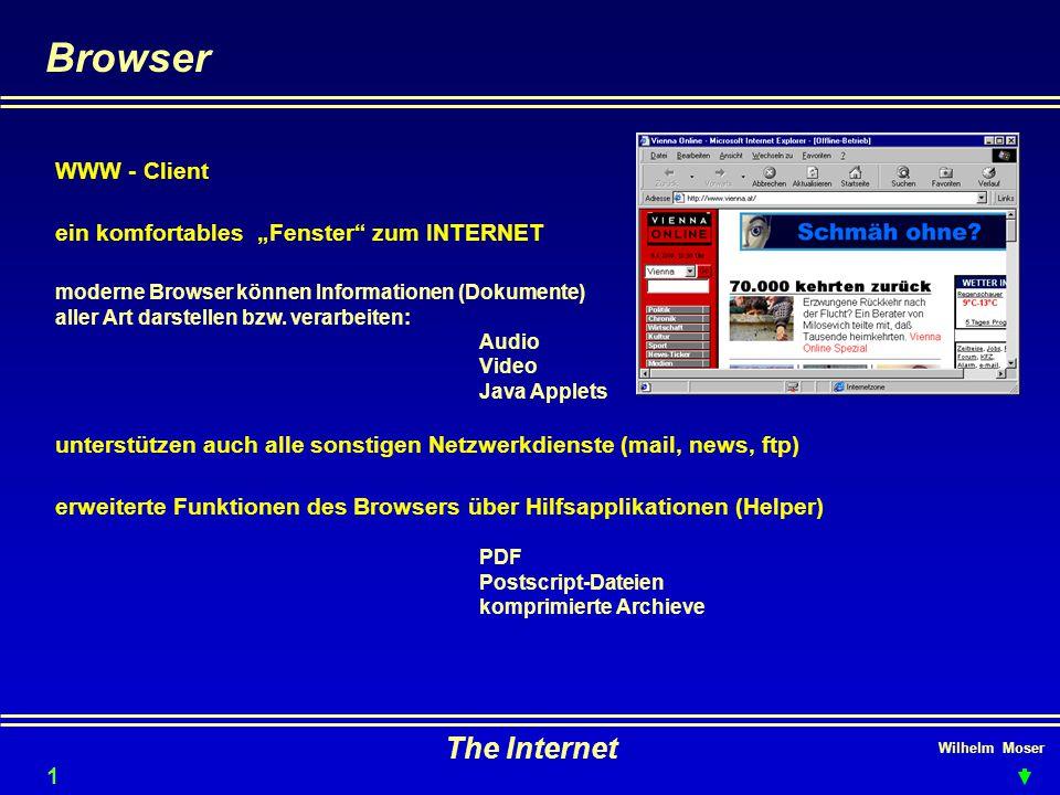 """Wilhelm Moser The Internet Browser 12 WWW - Client ein komfortables """"Fenster zum INTERNET moderne Browser können Informationen (Dokumente) aller Art darstellen bzw."""
