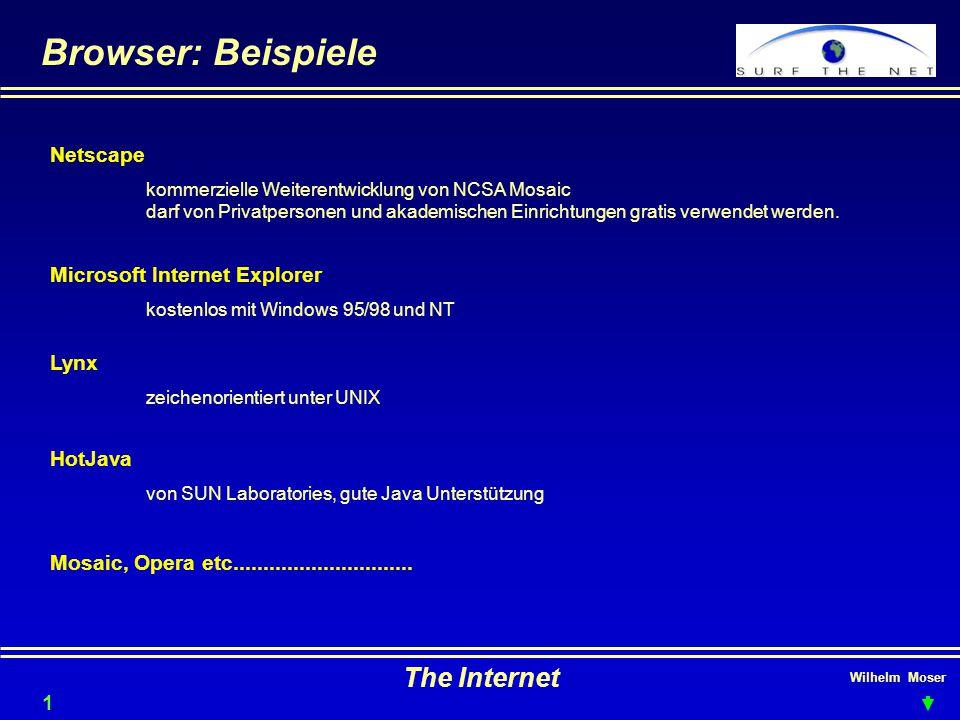 Wilhelm Moser The Internet Browser: Beispiele 14 Netscape kommerzielle Weiterentwicklung von NCSA Mosaic darf von Privatpersonen und akademischen Einr